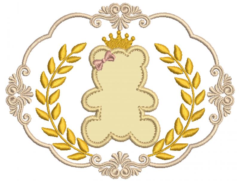 Moldura com Coroa de Louros e Ursinha - Aplique