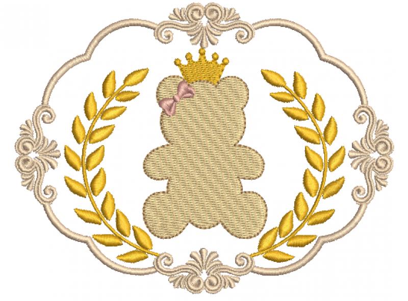 Moldura com Coroa de Louros e Ursinha - Ponto Cheio