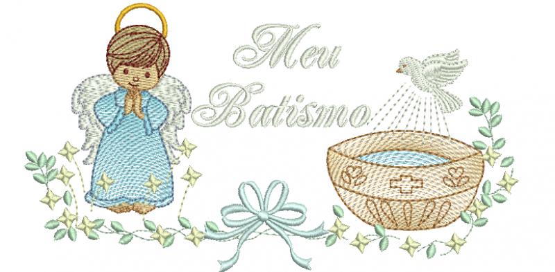 Anjo Menino com Pia Batismal MEU BATISMO- Rippled