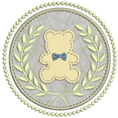 Urso na Moldura e Ramos de Louros - Aplique