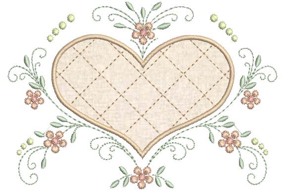Coração com Aplique e Ramos de Flores