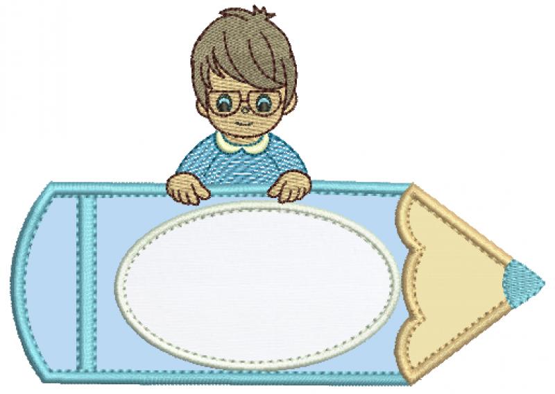 Menino no Lápis de Óculos- Aplique
