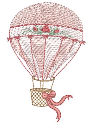 Balão com Laço e Flores - Rippled