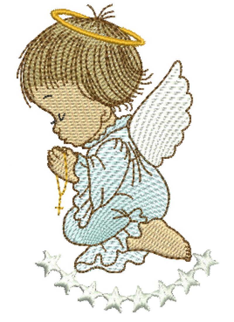 Anjo Menino Orando com Estrelas - Rippled