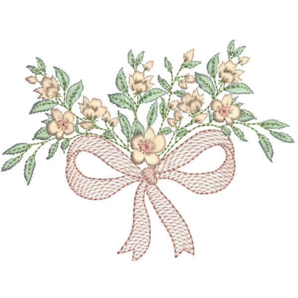 Laço e  Flores Guirlanda - Pontos Leves e Cheio
