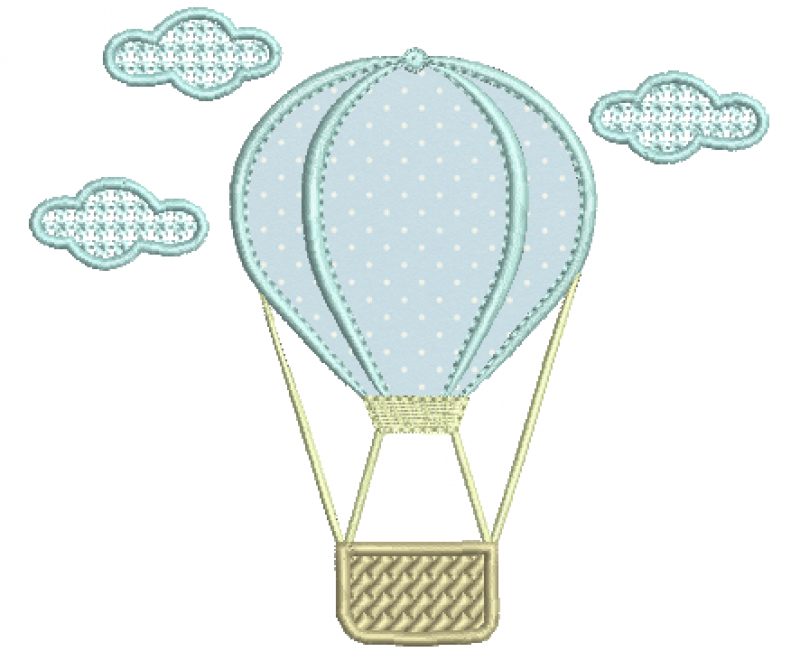 Balão com Nuvens - Aplique