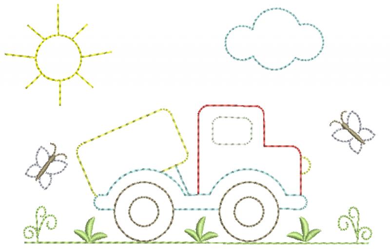 Jardim com Caminhão -  RedWork