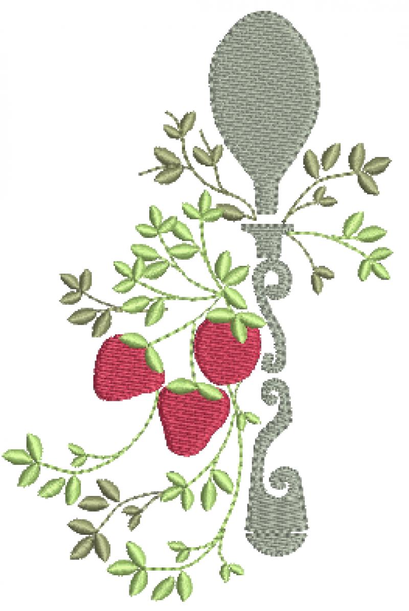 Colher decorada e morangos.