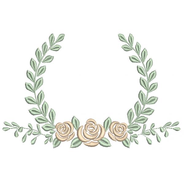 Rosas e Ramo com Louro - Ponto Cheio