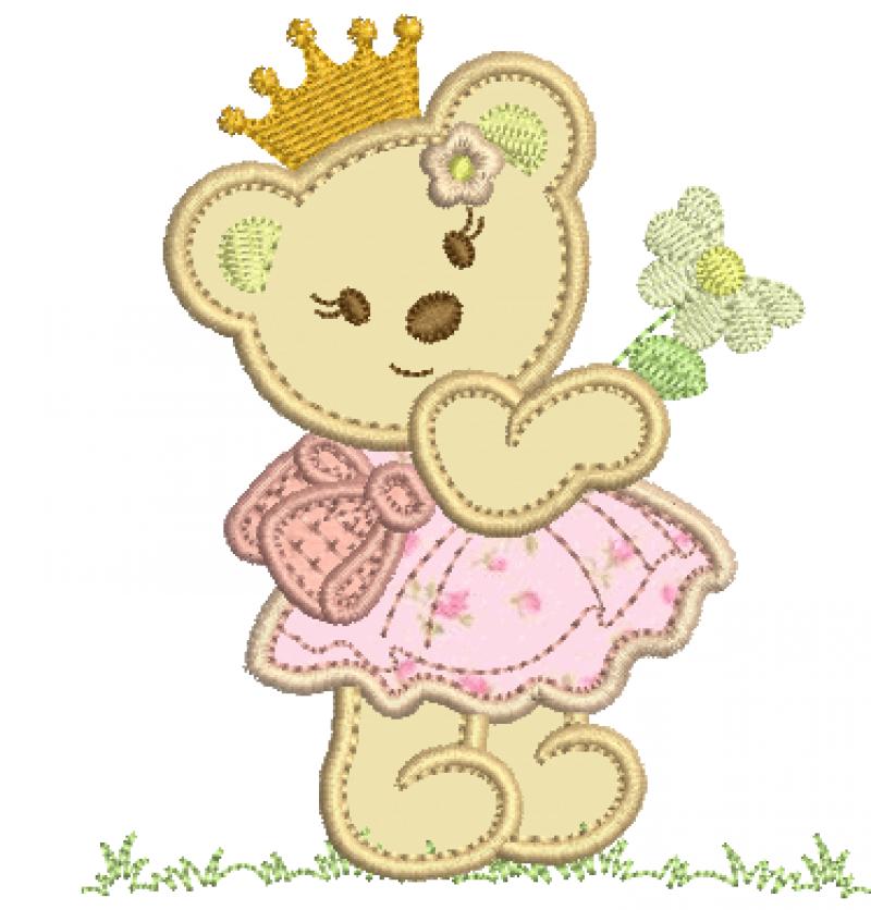 Ursa Segurando Margarida - Aplique