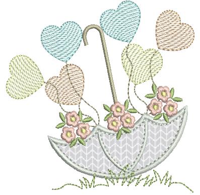 Sombrinha em Aplique com Corações e Flores