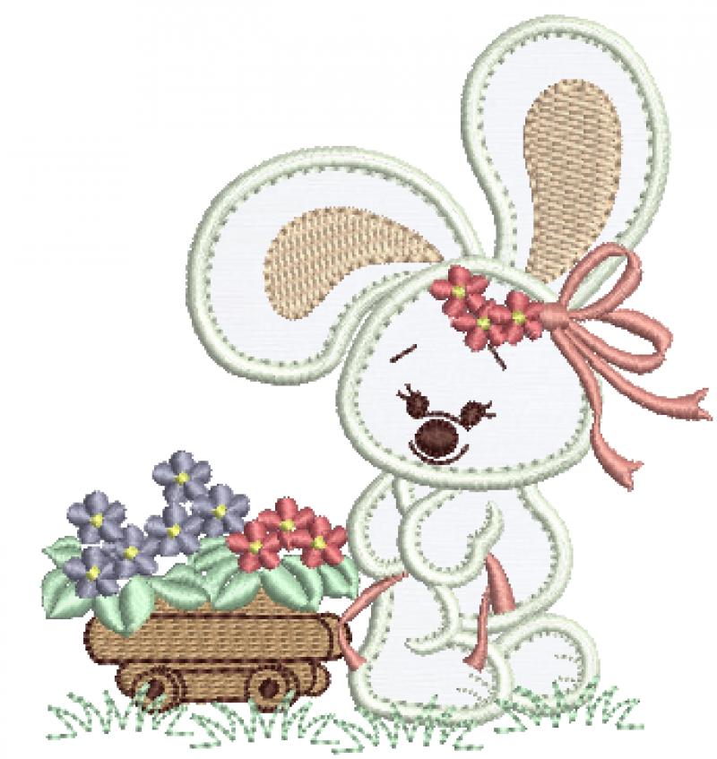 Coelha Puxando Carrinho de Flore - Aplique