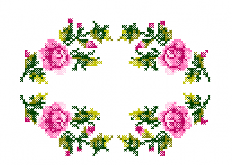 Guirlanda de Rosas - Ponto Cruz