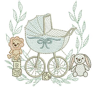 Carrinho de Bebê com Raminho e Brinquedos - Rippled