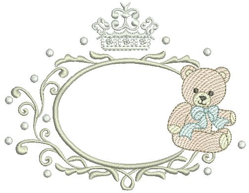 Urso em Rippled na Moldura e Coroa - Ponto Cheio