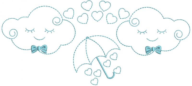 Nuvens Menino com Sombrinha Chuva de Amor - Ponto Corrido