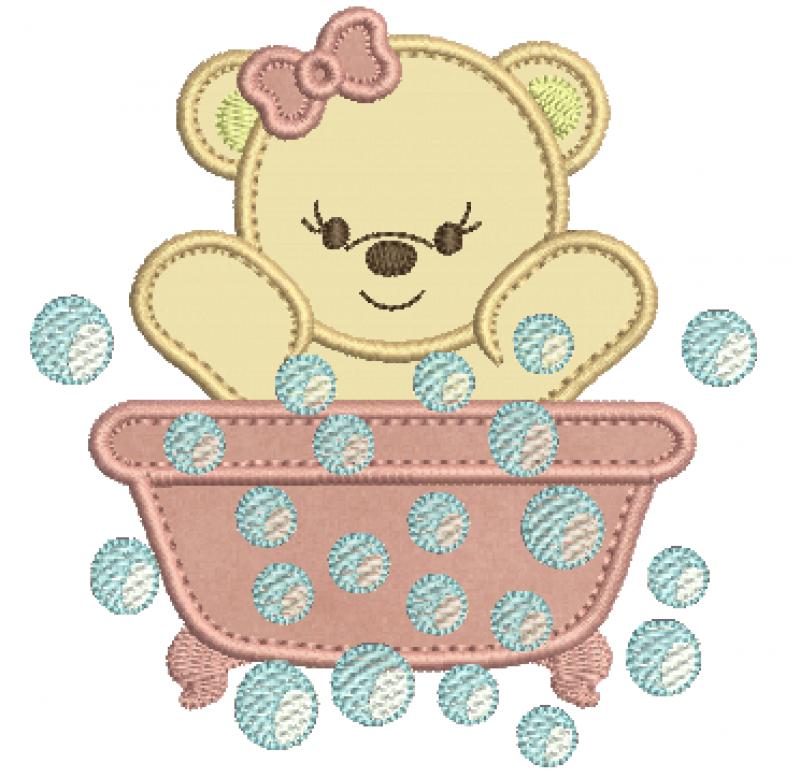 Ursinha na Banheira com Bolhas - Aplique