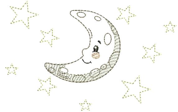 Lua com Estrelinhas – Estilo Minimalista
