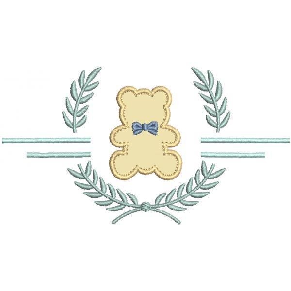 Urso Aplique com Ramo