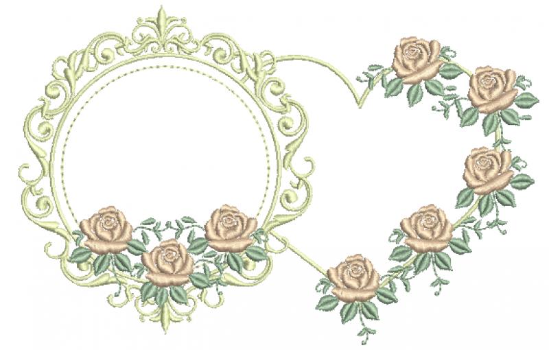 Moldura e Coração com Rosas - Ponto Cheio