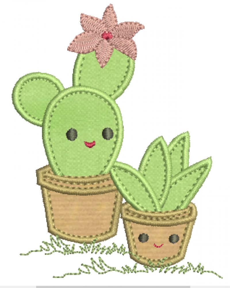 Cactos com Flor - Aplique