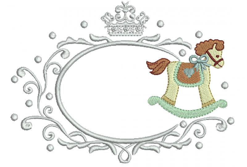 Moldura com Coroa e Cavalinho - Ponto Cheio