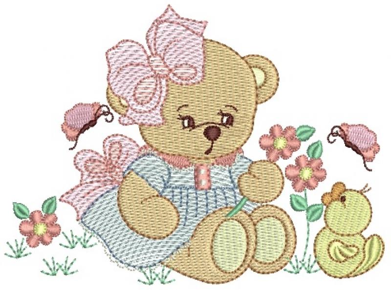 Ursa Segurando Flores Sentada com Patinho - Rippled e Ponto Cheio