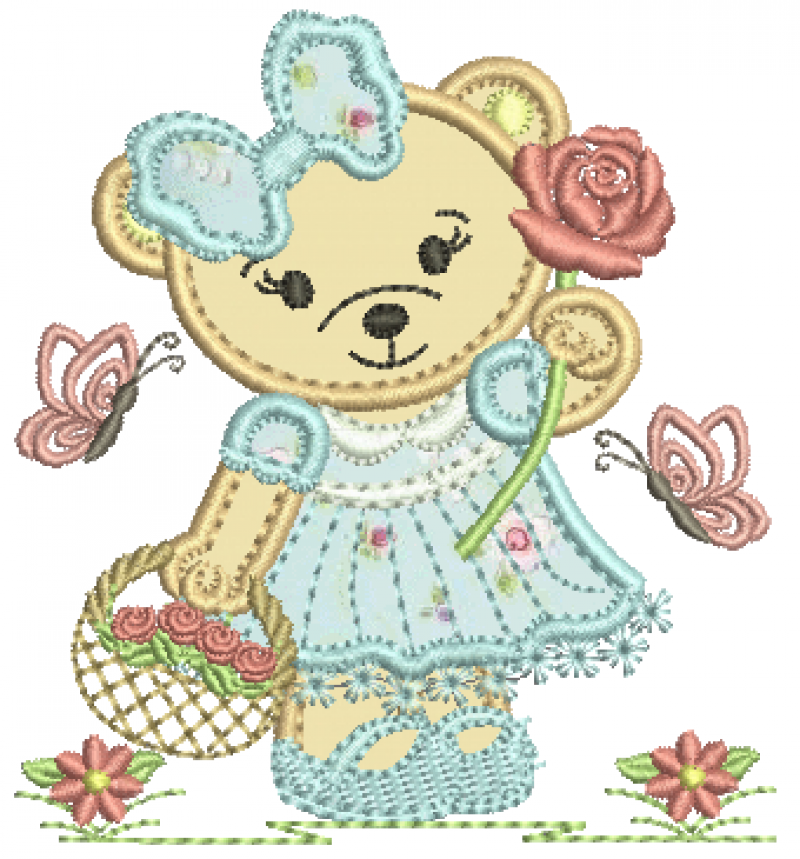 Ursa Com Cesto de Flores e Segurando Rosa - Aplique