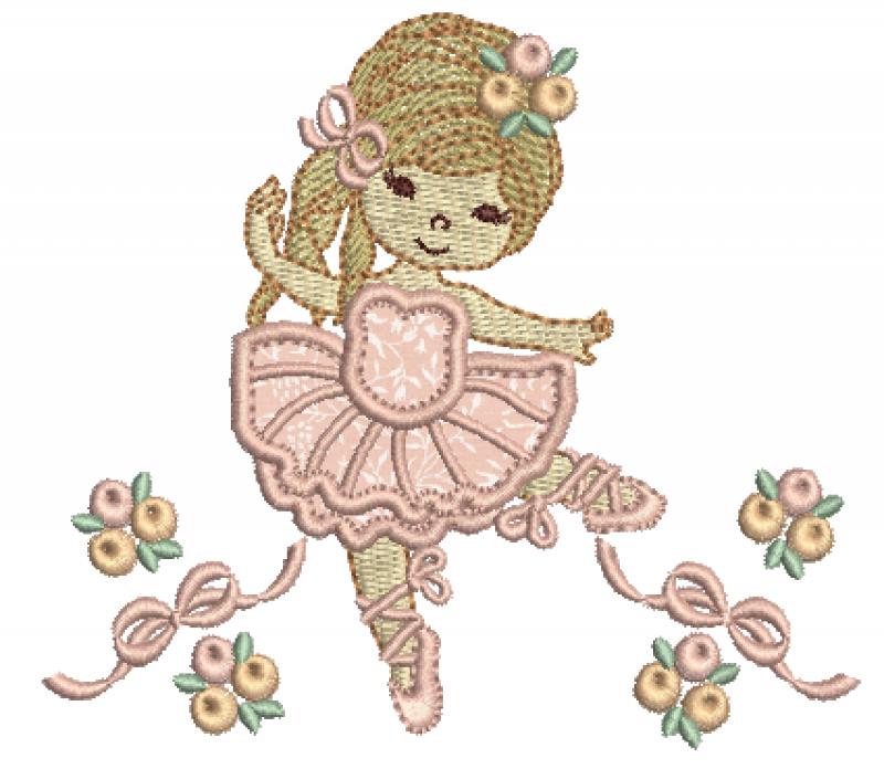 Bailarina com Laços e Rosas - Aplique