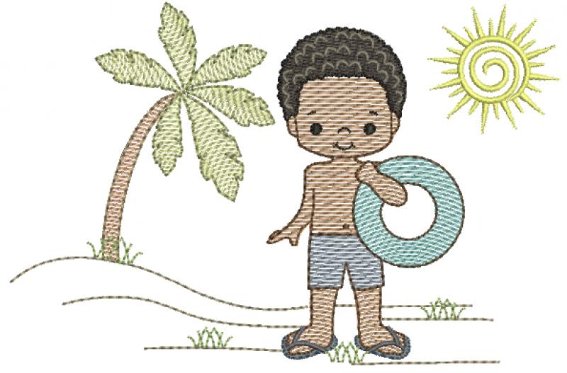 Menino Moreno na Praia com Bóia - Rippled