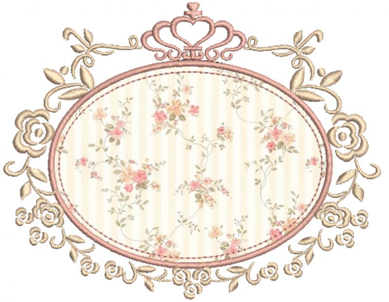 Moldura Oval com Rosas e Coroa - Aplicação