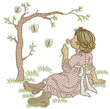 Menina Sentada e Árvore - Rippled