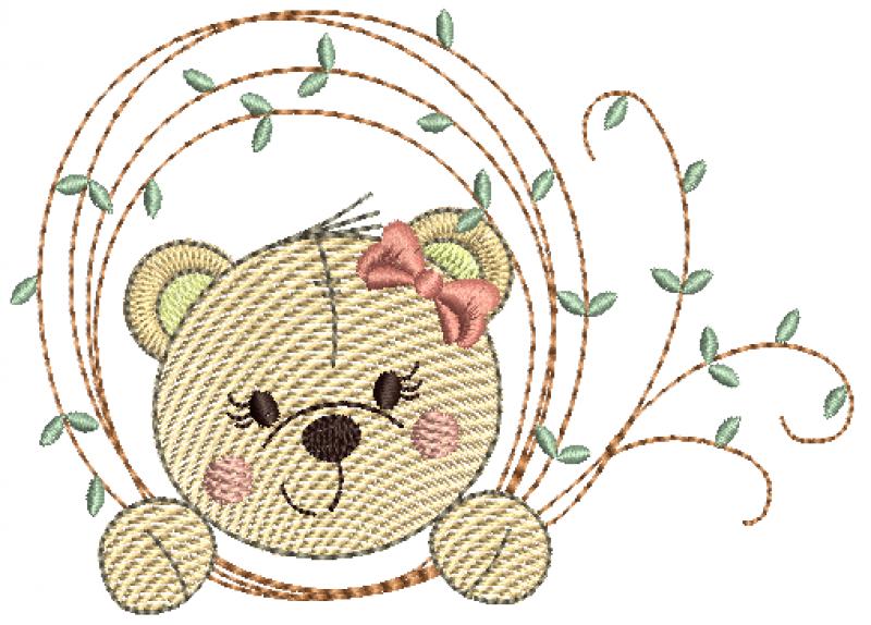 Ursinha na Moldura de Folhas - Rippled