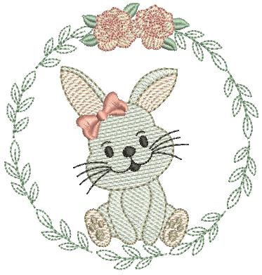 Coelha na Moldura de Folhas - Rippled