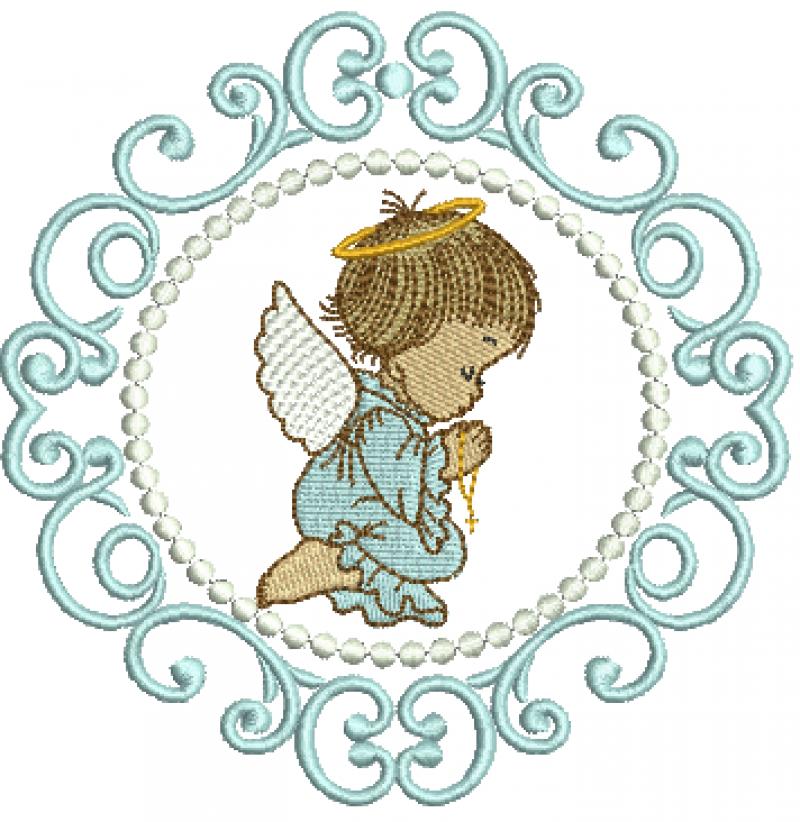 Anjo Menino Orando na Moldura - Ponto Cheio
