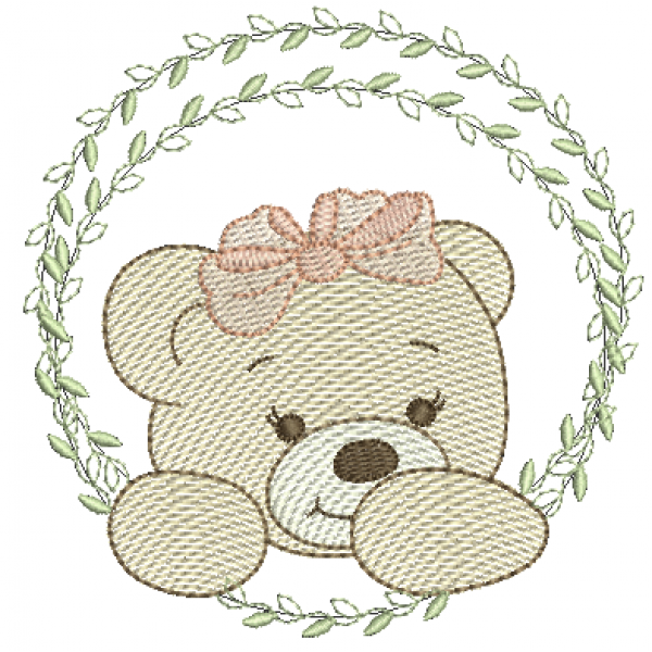 Ursa na Moldura de Folhas - Pontos Leves