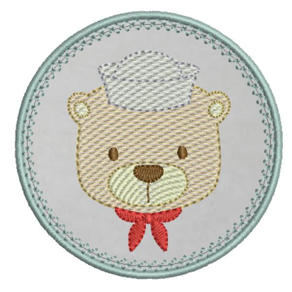 Urso Marinheiro e Moldura Aplique - Pontos Leves