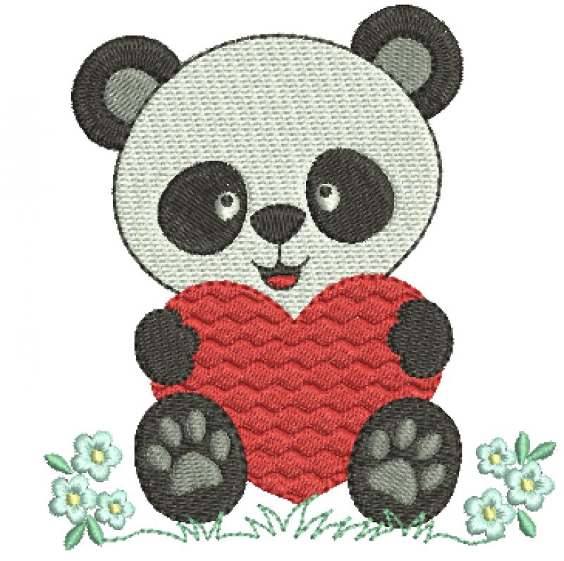 Urso Panda com Coração - Ponto Cheio
