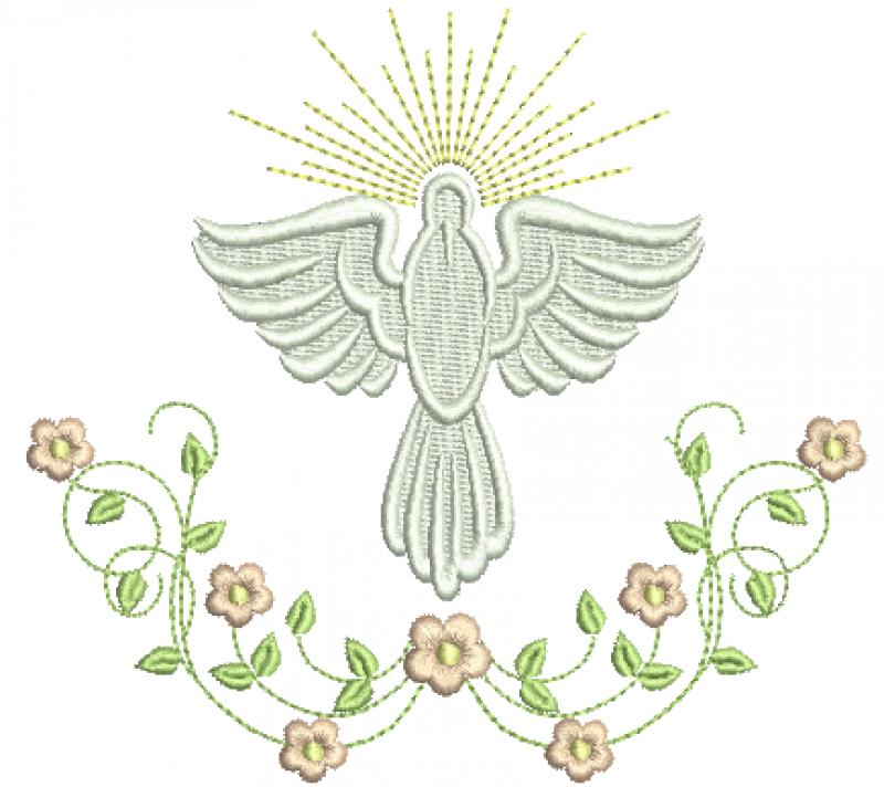 Divino Espírito Santo com Ramo de Flores – Ponto Cheio