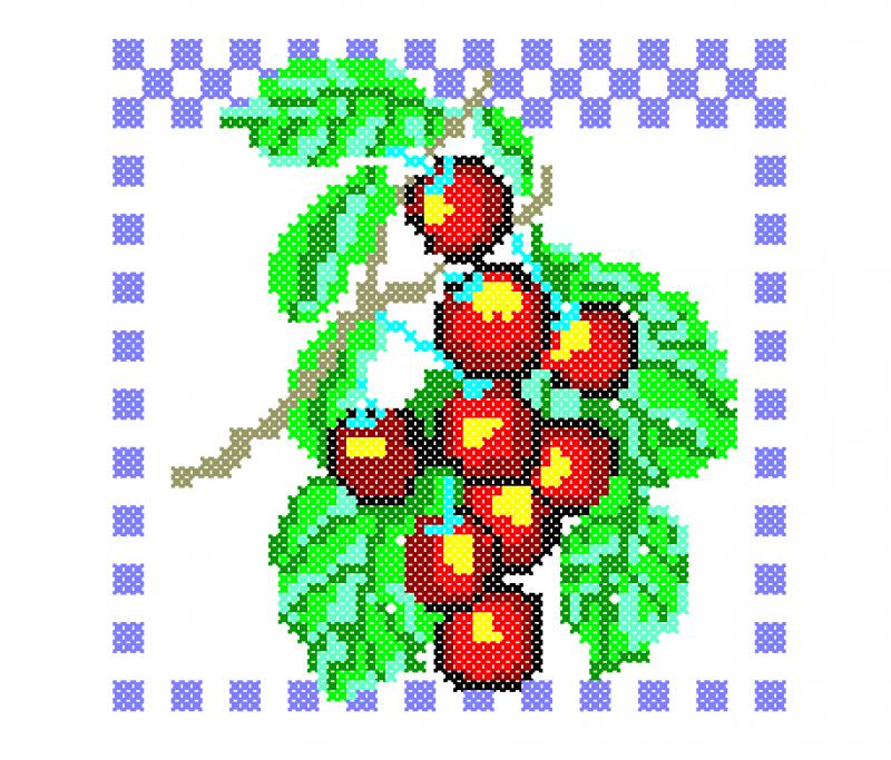 Moldura com Cerejas - Ponto Cruz