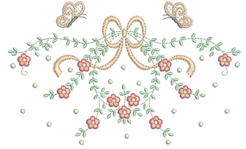 Guirlanda com Laço , Flores e Borboletas - Ponto Cheio