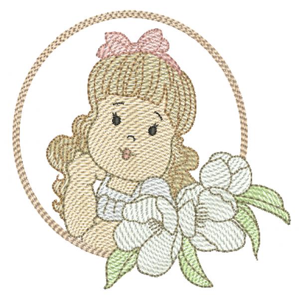 Menina Flores Laço e Molduras - Pontos Leves