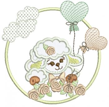 Ovelha meio Corpo na Moldura de Rosas e Bexigas - Aplique