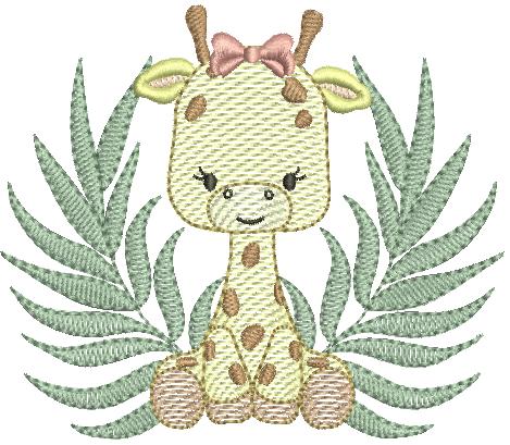 Girafa Sentada com Folhagem - Rippled