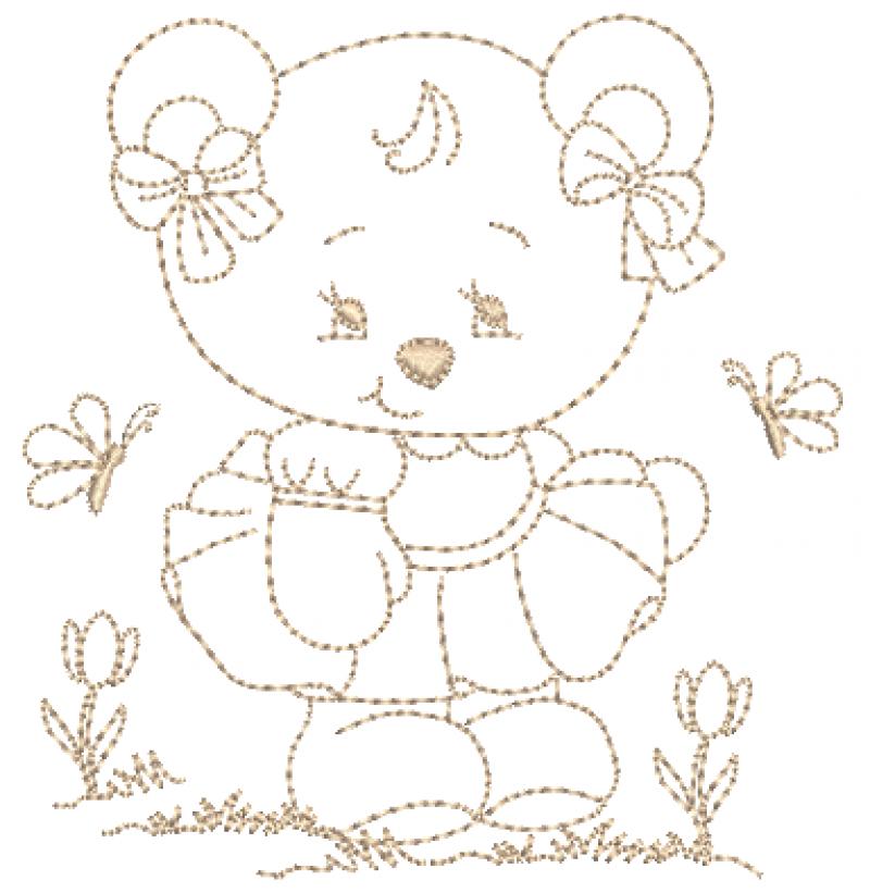 Ursa de Vestido e Lacinhos - Ponto Corrido