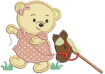 Ursa Puxando Cavalinho - Aplique