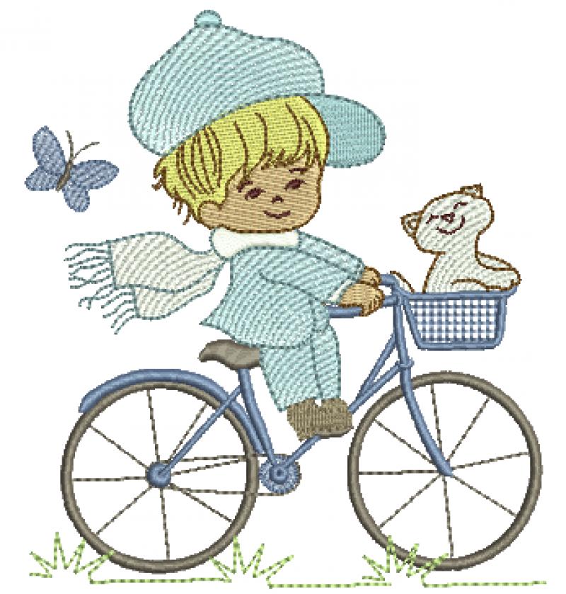 Menino na Bicicleta com Gatinho - Rippled