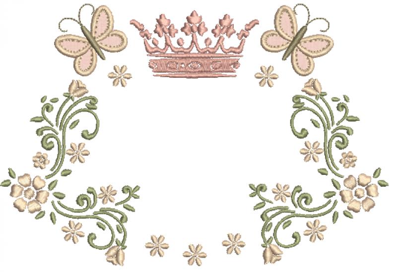 Ramo com Coroa, Florzinhas e Borboleta 3D