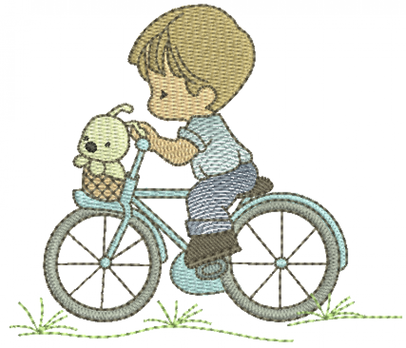 Menino Cute Andando de Bicicleta com Cachorrinho - Rippled