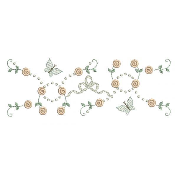 Rosas Pequenas e Borboletas - Ponto Cheio